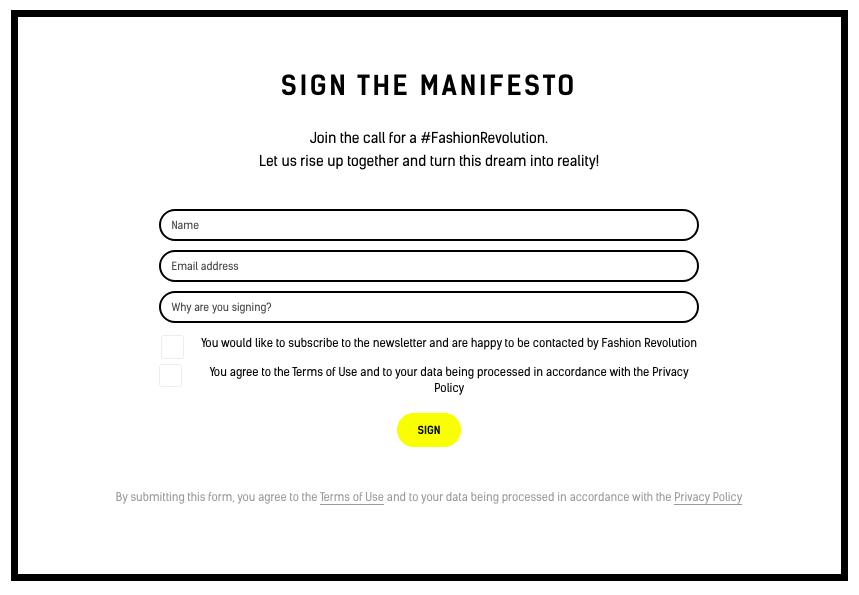 Fashion Revolution Manifesto - Sign the Manifesto